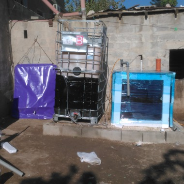 The Solar CITIES solar heated IBC biodigester in Auja Bedouin Village in Palestine,