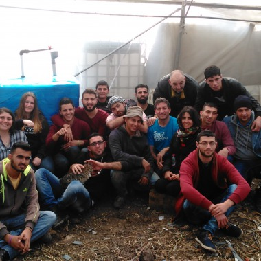 "Solar CITIES, Envisaj Mercy and Palestinian Polytechnic students build our ""refugee camp"" IBC based biodigester in a greenhouse at Hakoritna Farm"